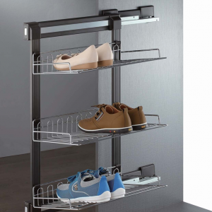 Pull out shoe rack brown